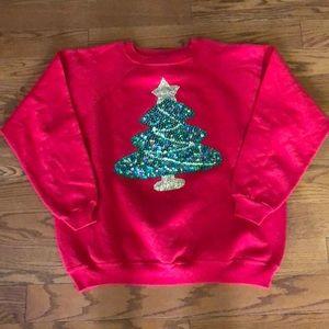 Vintage Ugly Christmas Sweater Hand Beaded Tree